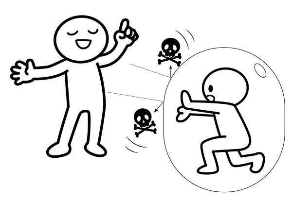 相手からの攻撃を交わすイラスト